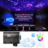 Luz de teto do efeito do céu estrelado das luzes rgbw da fibra ótica do controle do aplicativo esperto 2-5m cabo de fibra ótica disponível decoração do carro