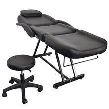 Portable 015A Beauty Salon Bed With Stool Barber Chair With Stool Non-slip Feet Massage ChairBlack