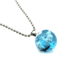Luminous, White Sky Blue Sky Chain Necklace Pendant Necklace Women Transparent Spherical Resin Necklace Fashion Jewelry