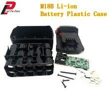 M18b placa de circuito para bateria de íon lítio, caixa de plástico proteção de carregamento para milwaukee 18v m18 48 11 1815 3ah escudo da placa do pcb 4ah 5ah
