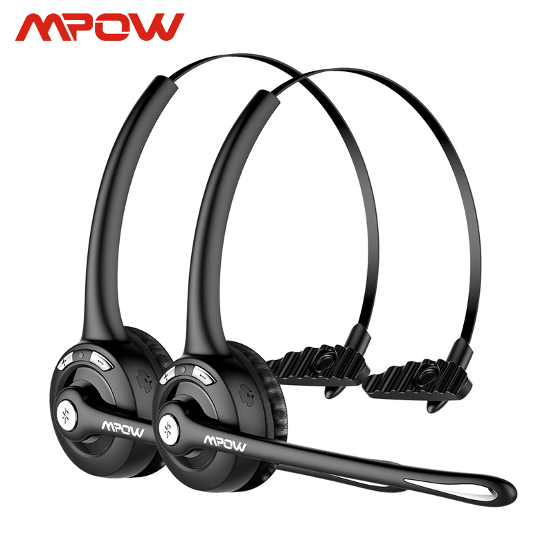 1/2 pack Mpow Pro Professional Wireless Bluetooth headphone With Microphone 13H Talking Time For Driver Call Center Skype Office