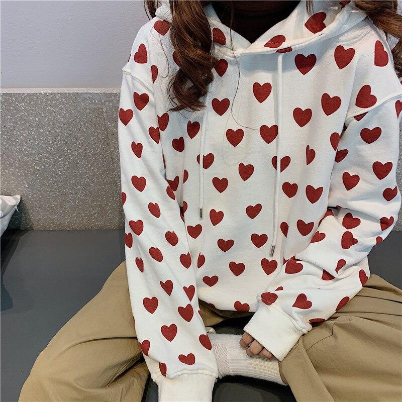 Harajuku Autumn Chic Sweatshirt Women Cute Red Heart Print Hooded Pullover Fashion Long Sleeve Loose Casual Sweatshirt Female