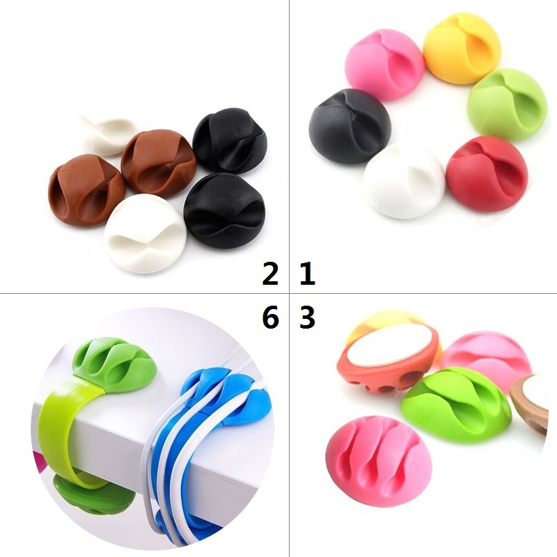 1/2/3/5 Slot Cable Organizer Silicone USB Cable Winder Desktop Tidy Management Clips Cable Holder For Mouse Headphone Wire