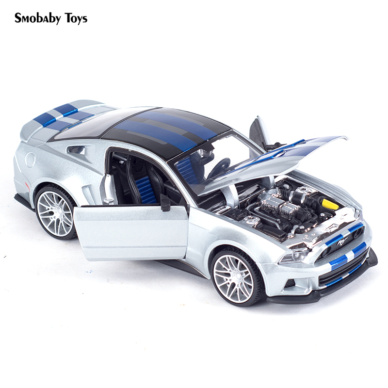 Real <font><b>1:24</b></font> Alloy Car Model 2014 <font><b>Ford</b></font> <font><b>Mustang</b></font> Street Racer Sports Car Static Simulation Diecast Alloy Model Car image