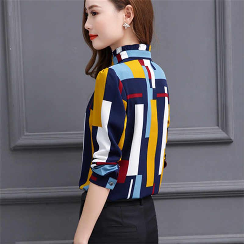 Venda quente estilo kroean blusas de moda feminina verão feminino manga longa suporte chiffon camisas alta qualidade roupas lwl086