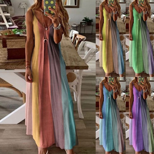 Women Summer Dress 2020 Summer New Women's Long Colorful Strap Floral Printed Maxi Long Dresses Vestidos Dropshipping YFF6309