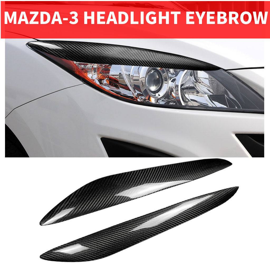 2PCS Car Styling Real Carbon Fiber Headlight Eyebrow Eyelids For Mazda3 <font><b>Mazda</b></font>-3 JDM Trim Cover <font><b>Sticker</b></font> 2010-2013 Accessory Parts image