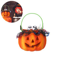 2019 Halloween Pumpkin Light Portable Simulation Lamp With Skeleton Head Party Hanging Decor LED Lantern(China)