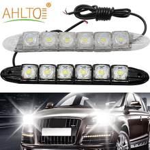 Luz Led de circulación diurna para coche, Bombilla antiniebla DE CONDUCCIÓN impermeable, Flexible, 6Led, blanca, lámpara de advertencia, estilo de coche, DC 12V, 2 uds.