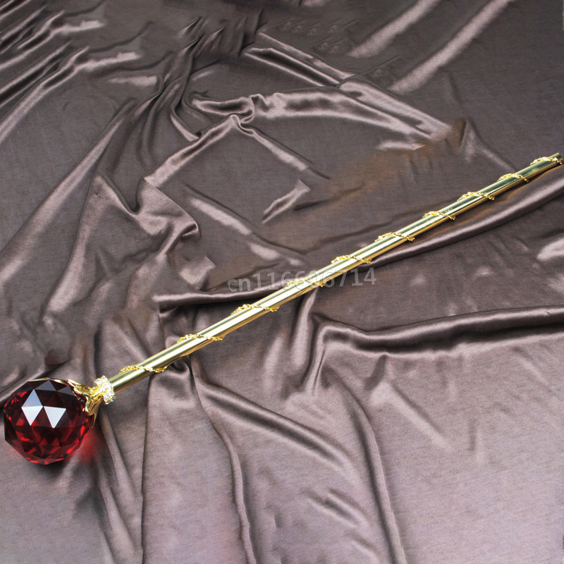 White Crystal Scepters Gold Plated Sceptres Wand Wedding Pageant Party Costumes