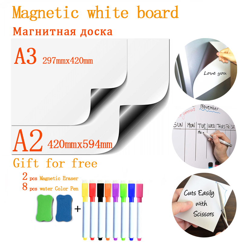Soft Fridge Stickers Size A2+A3 Magnetic Whiteboard For Kids Dry Eraser School Memo Presentation Writing Drawing Bulletin Board