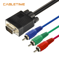 Cabletime VGA to 3 RCA Audio Cable 3RCA TV AV Adapter Cable for PC Laptop HDTV DVD TV RGB Display Drop Shipping N7