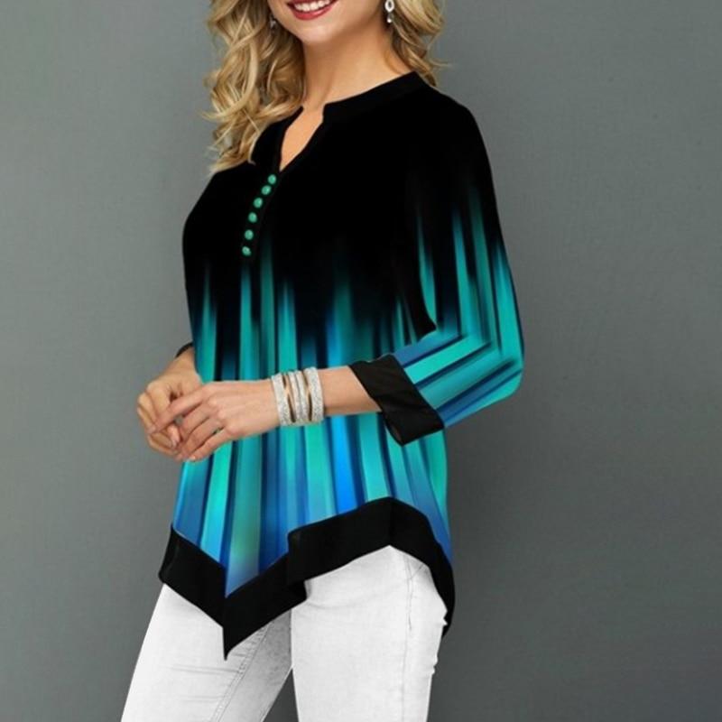 Plus Size 5XL Striped Blouses Women's Tunics 3/4 Sleeve Print Irregular Ladies Blouse 2020 Spring Summer Casual Female Tunic Top