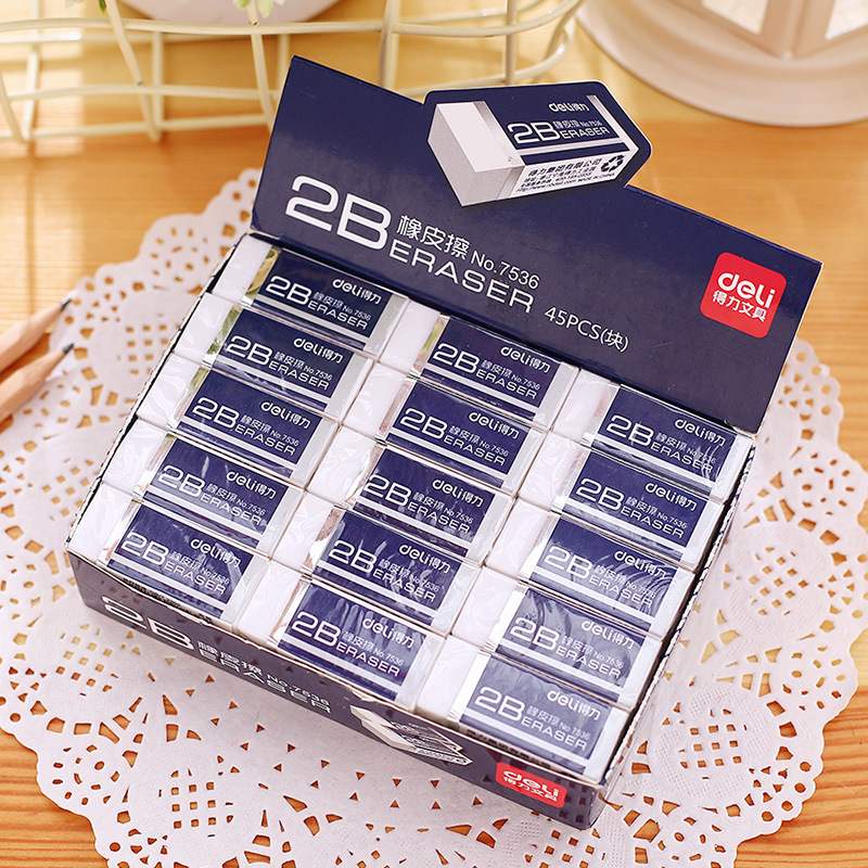 Office Stationery Deli 7536 High Quality Rubber Eraser Office Rubber Eraser Students Exam Rubber Eraser