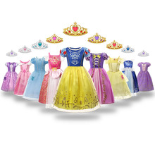 Snow White Dress For Girls Satin Princess Costumes 2020 New Arrival Gorgeous Kids Clothes 3-8T Halloween Cosplay Frocks