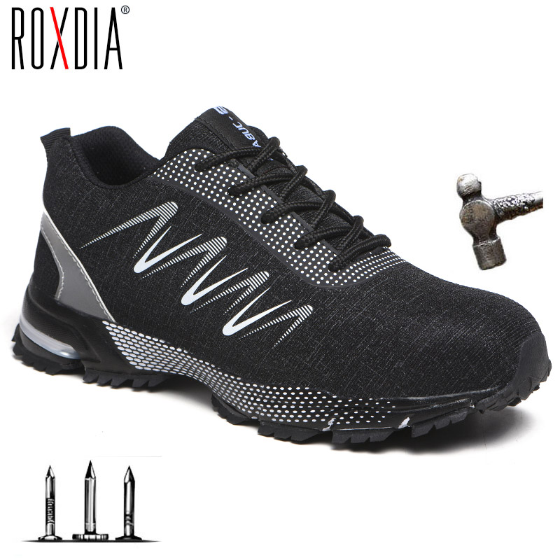 Drop Shipping Steel Toe Construction Work Shoes Fashion Men Women Ultralight Mesh Industial Safety Shoes Plus Size 37-47 RXM193