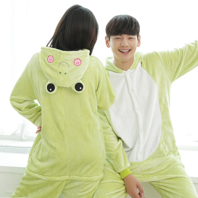 Frog Kigurumi Pajamas Women Adult Cute Animal Onesie Flannel Warm Winter Sleepwear Party Fancy