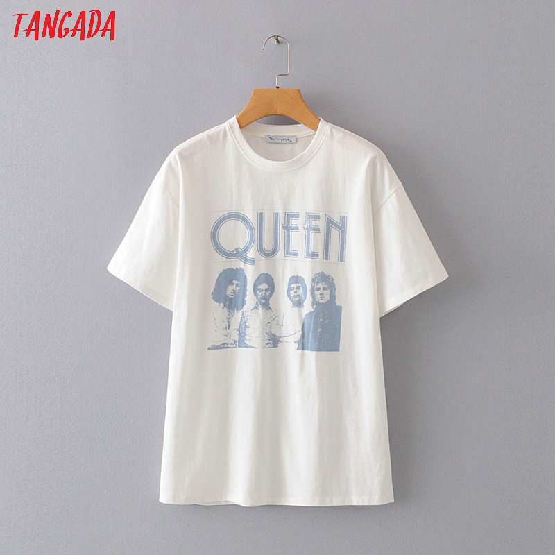 Tangada Women Boy Friend Style Print Cotton 2020 T Shirt Short Sleeve O Neck Tees Ladies Casual Tee Shirt Street Wear Top 2M06