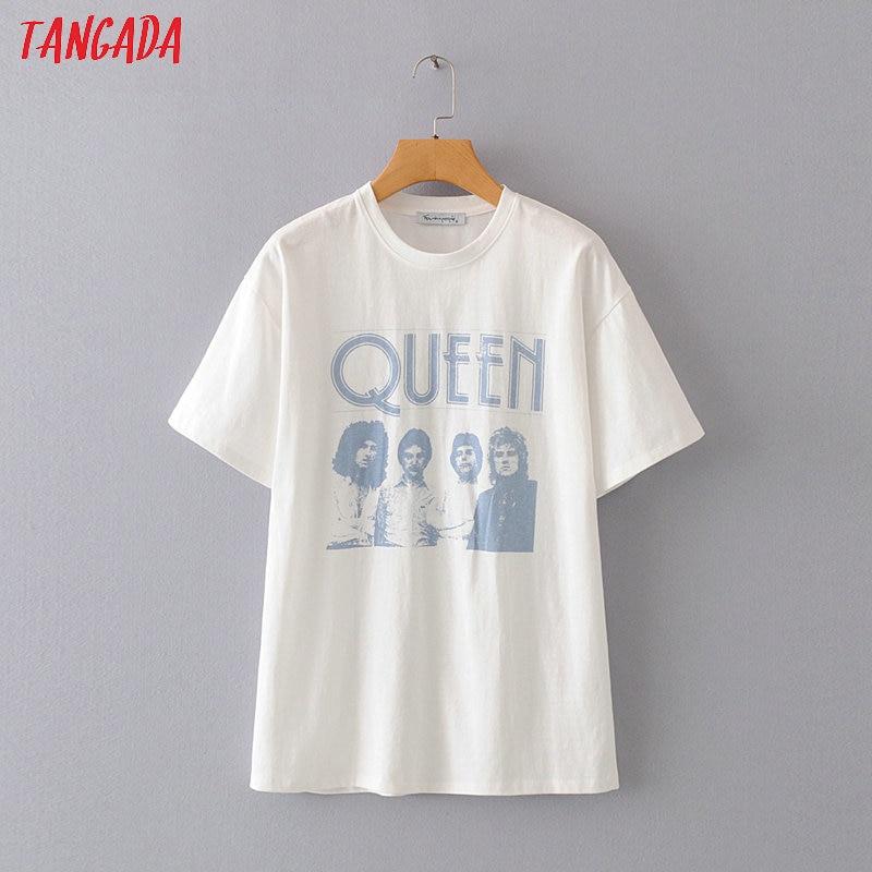 Tangada Women Boy Friend Style Print Cotton 2020 T Shirt Short Sleeve O Neck Tees Ladies Casual Tee Shirt Street Wear Top 2M06