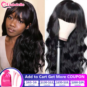 Gabrielle Body Wave Human Hair Wigs For Black Women Brazilian Short Bob Wig with Bangs Remy 30 Inch Full Machine Made Wigs