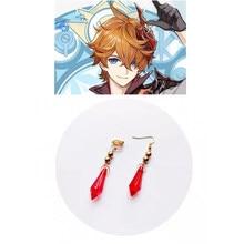 Genshin impacto tartaglia brincos cosplay genshin childe brinco moda jóias