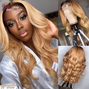 Ciało koronkowa fala przodu ludzki włos peruka brazylijski miód blond 13*4 koronkowa peruka na przód Ombre 1B/27 wstępnie oskubane Pinshair Remy włosy 150