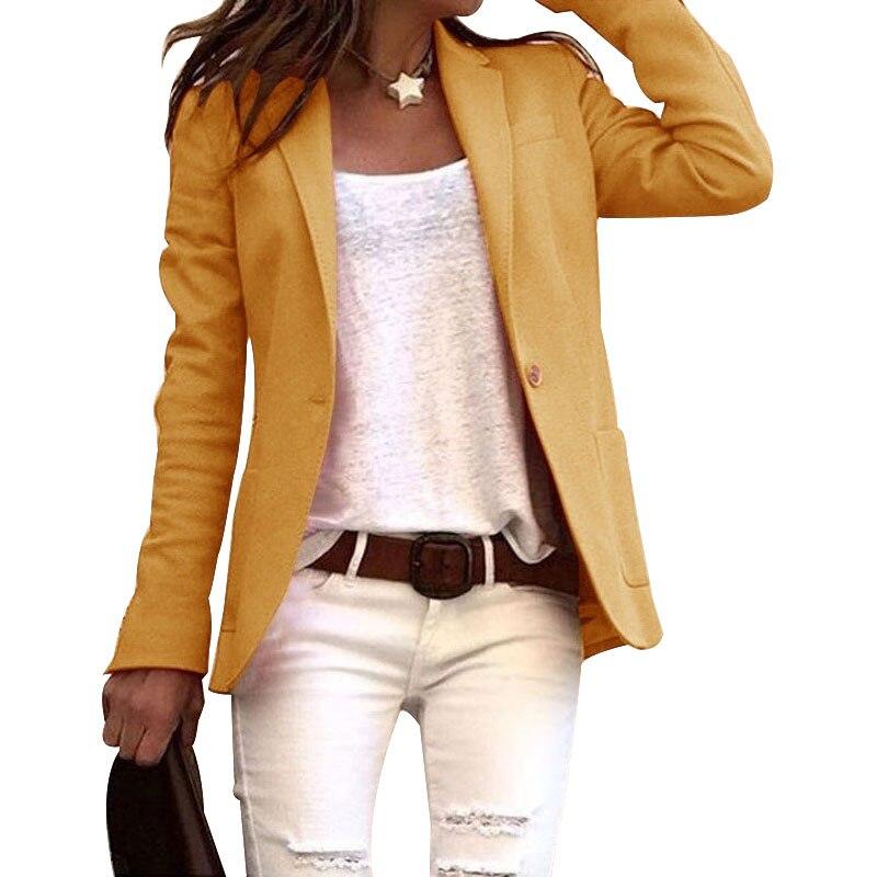 Women Elegant Business OL Coat Slim Suit Solid Color Long Sleeve Jackets EIG88