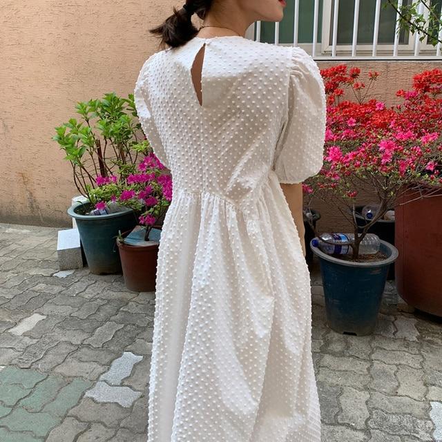 Vinatge Women Long Dress Summer 2021 Casual Puff Sleeve Oversize Dress Women Elegant Korean Female Dress Loose Vestidos New 9941 4