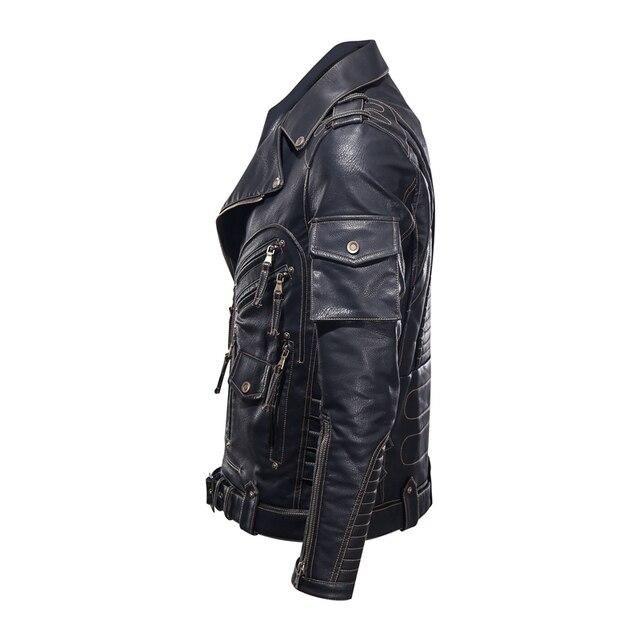 Winter Mens Leather Jacket Men Fashion Motorcycle PU Leather Jacket Cool Zipper Pockets Leather Coats EU Size 4