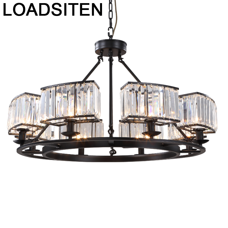Pendant Lampara Industrial European Crystal Dining Room Light Luminaria Suspendu Suspension Luminaire Deco Maison Hanging Lamp|Pendant Lights| |  - title=
