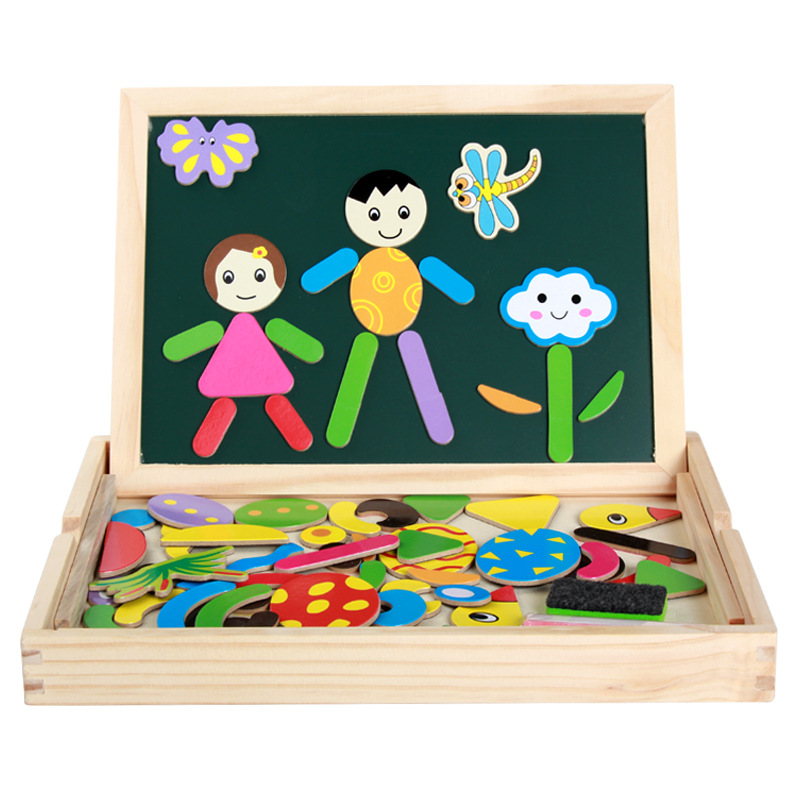 Wood Mom Wonderful Sketchpad Wooden Magnetic Double-Sided Jigsaw Puzzle Sketchpad Children Joypin Educational Puzzle Jigsaw Puzz
