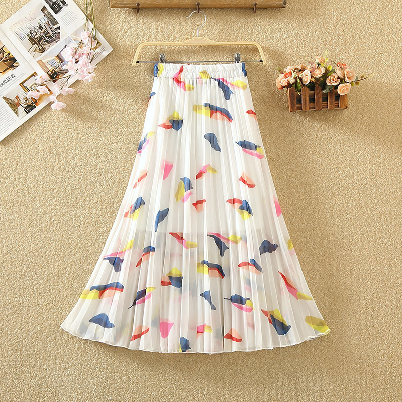 Summer Women Floral Print Long Pleated Skirt Holiday Beach New Chiffon Female Skirts Casual Elastic Waist Ladies Skirt