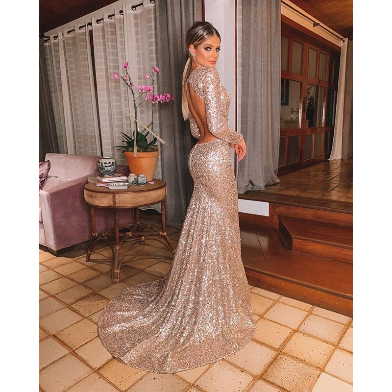 New Champagne Gold   Evening     Dress   robe de soiree longue Sequin   Evening   Gown Avondjurk Mermaid Formal   Dresses   With sleeves abiye