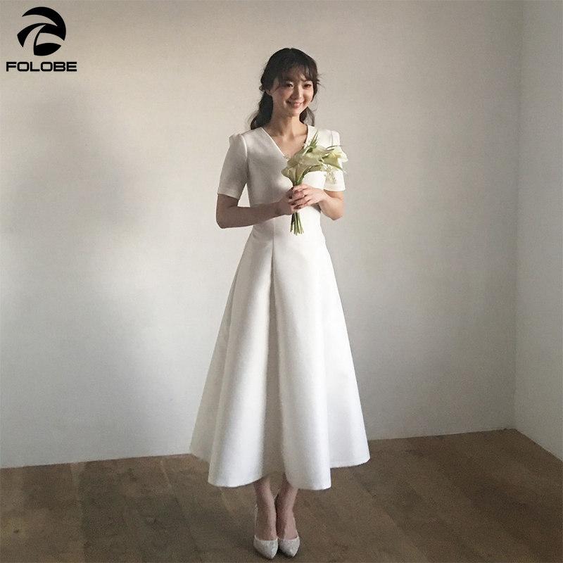 2020 Simple Vintage Ankle Length Satin Wedding Dresses A Line V-neck Short Sleeve White Ivory Bridal Wedding Gowns