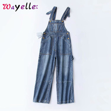 Overalls Jeans Woman 2019 Korean Wide Leg Pants Women Chic Distressed Pockets Boyfriend for