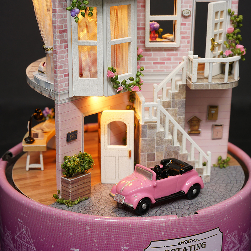 DIY Dollhouse Rotate Music Box Miniature Assemble Kits Doll House With Furnitures Wooden House Toys for Children Birthday Gift 3