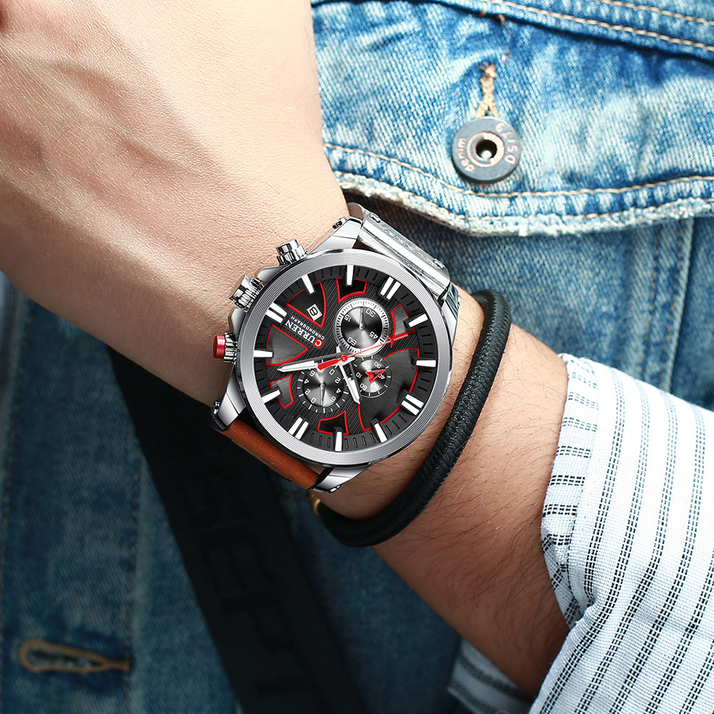 H4e174c9b0b7d4a3bb3d3f5cf2cfd6269y CURREN  Brand Luxury Men Watch Leather Quartz Clock Fashion Chronograph Wristwatch Male Sport Military 8346 Relogio Masculino