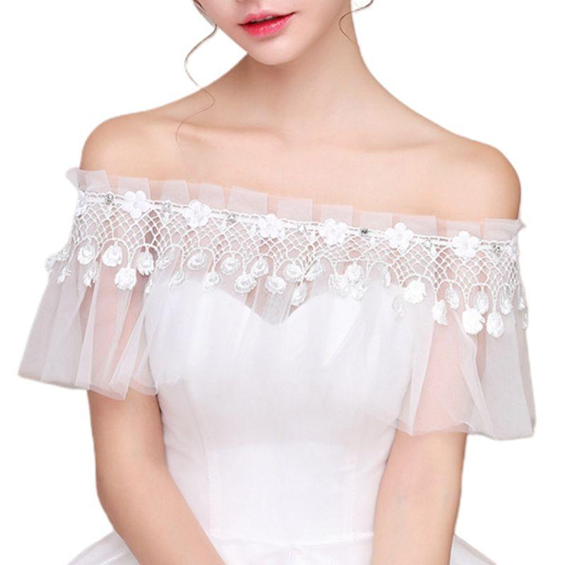 2021 New  Bride Wedding Shawl Wrap Off Shoulder Fringed Rhinestone Lace-up Ruffles Cape