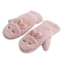 Новое поступление года, лаконичный стиль, новые модные детские милые зимние перчатки из кролика, варежки для женщин, меховые теплые шерстяные перчатки 10,24