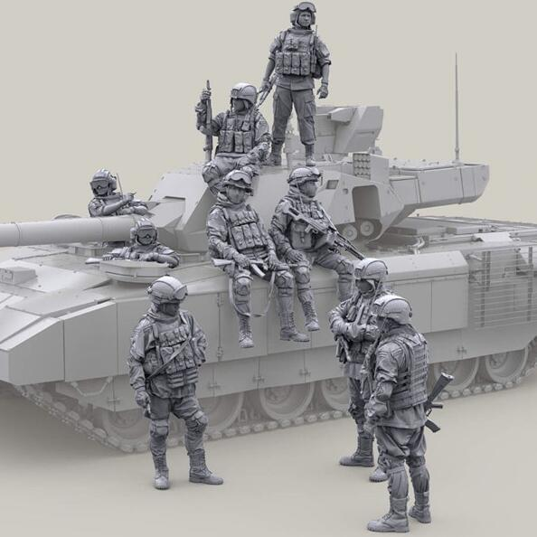 1/35 Resin Figures Tank Soldiers 9pcs/set (no Tank)