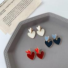 Minimalistyczna emalia kolczyki w kształcie serca dla kobiet dziewczyna metalowa czerwona niebieska biała miłość serce wiszące kolczyki w kształcie kropli oświadczenie biżuteria