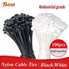 Attache de câble en nylon noir, en plastique, autobloquant, enveloppe à glissière noire, ensemble de 3x100 anneaux de fixation, 3x100