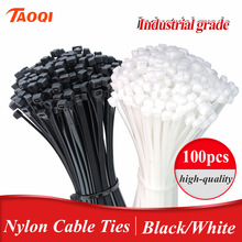 Fastening-Ring Strap Cable-Tie-Set Wire-Wrap Nylon-Tie Self-Locking Plastic Black 100pcs/Bag