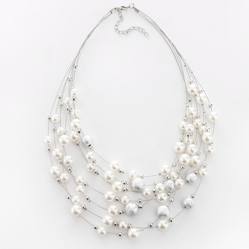 2021 New Arrivals Fashion Jewelry Gold Color Multi Layer Chains Imitation Pearl Necklaces For Women Party Wedding Bride Necklace