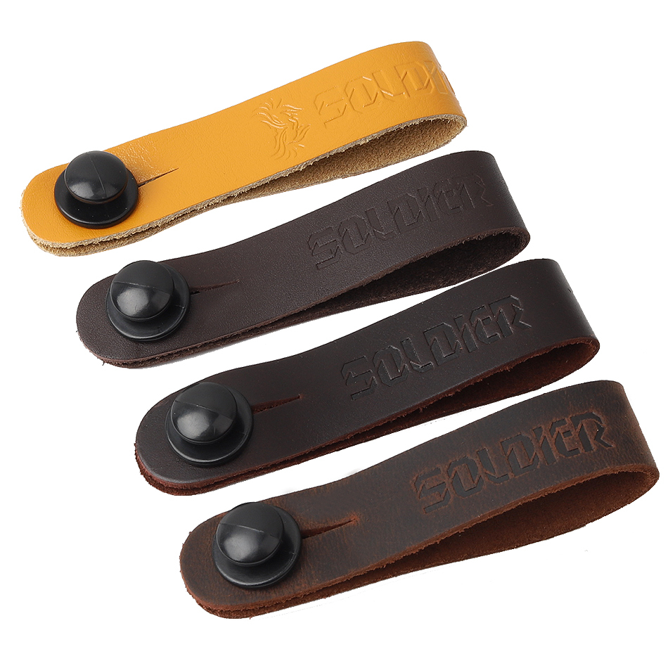 Soldier Grain Leather Guitar Neck Strap Button Guitar Head Stock Tie Safe Lock Guitar Accessories