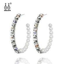 цена на DREJEW Geometric Circle Pearl Rhinestone Statement Earrings 925 Fashion Alloy Hoop Earrings for Women Weddings Jewelry HE9201