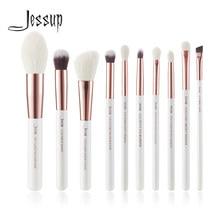 Jessup Maquiagem Escova Fundação Cabelo Pó Definer Shader Liner 10pcs Pearl White / Rose Gold Kисти для Mакияжа