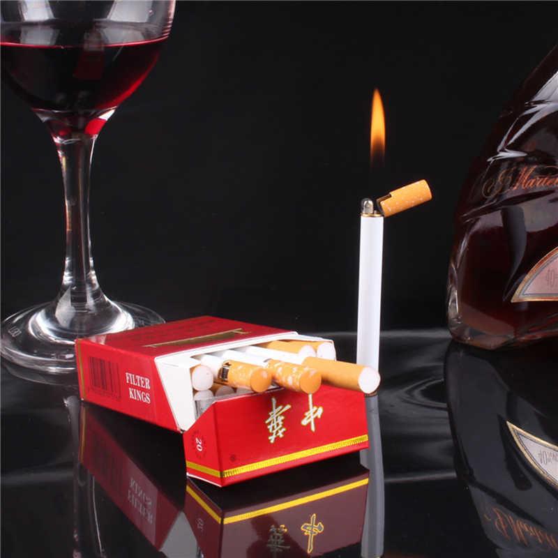 Briquet de poche en métal   Mini torche compacte créative briquet Butane en forme de Cigarette sans feu, meule de meulage briquet de poche pour l'extérieur