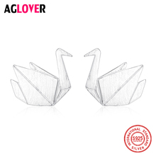 AGLOVER 2019 New 925 Sterling Silver Stud Earring Girl Heart Origami Crane Earrings For Women Fashion Girls Jewelry Best Gifts