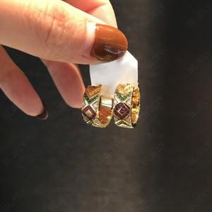 Image 4 - SLJELY Solid 925 Sterling Silver Yellow Gold Color Multicolor Zirconia Ceometric Pattern Tribel Hoop Earrings Women Mana Jewelry